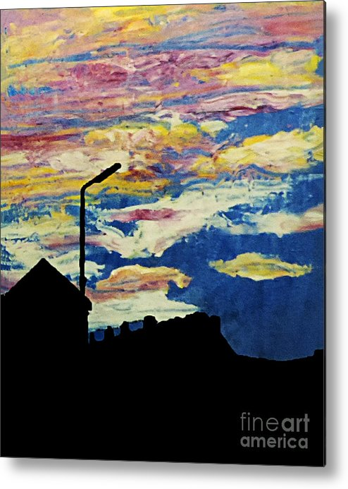 Stephen Metal Print featuring the painting Dark Sunset by Stephen Brooks