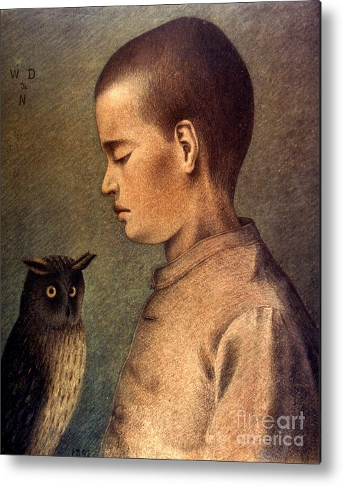 1892 Metal Print featuring the photograph Degouve: Child & Owl, 1892 by Granger