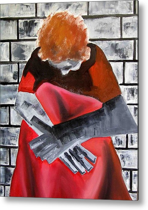 Metal Print featuring the painting Depression by Evguenia Men