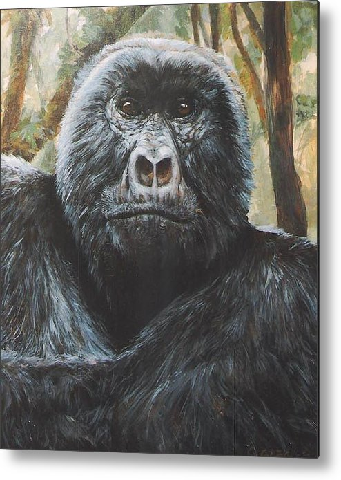 Gorilla Metal Print featuring the painting Digit by Steve Greco