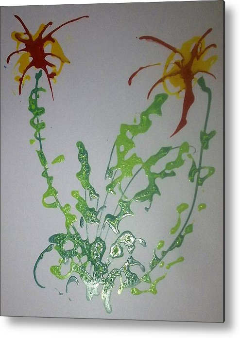 Abstract Metal Print featuring the painting Digital Flower Painting by Baljit Chadha