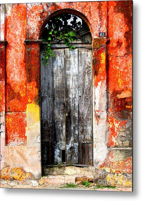 Darian Day Metal Print featuring the photograph Door At The Red Corner By Darian Day by Mexicolors Art Photography