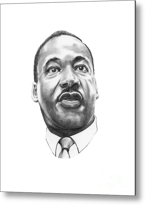 Portrait Metal Print featuring the drawing Dr. Martin Luther King by Murphy Elliott