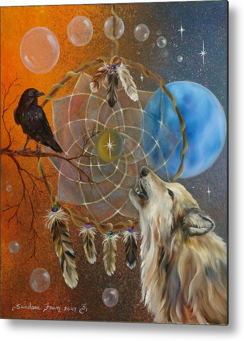 Wolf Metal Print featuring the painting Dreams Made Easy by Sundara Fawn