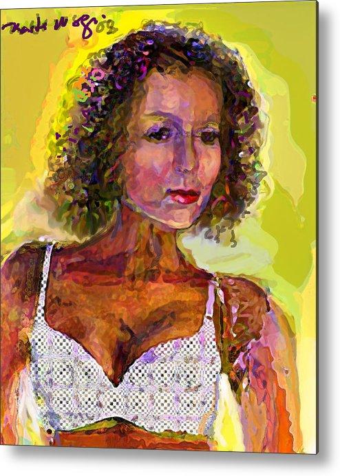 Portrait Metal Print featuring the painting Fallingangel by Noredin Morgan
