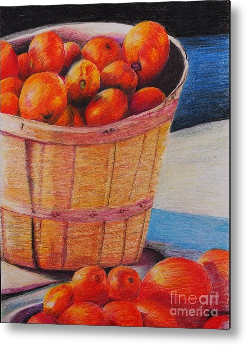 Produce In A Basket Metal Print featuring the drawing Farmers Market Produce by Nadine Rippelmeyer