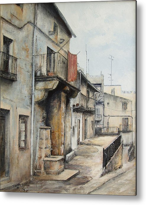 Fermoselle Zamora Spain Oil Painting City Scapes Urban Art Metal Print featuring the painting Fermoselle by Tomas Castano