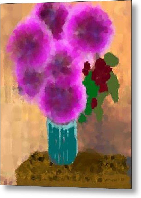 Flowers.colors.llilac.red.rose.green.blue.room.flower Vase.leaves Metal Print featuring the digital art Flowers In Room by Dr Loifer Vladimir