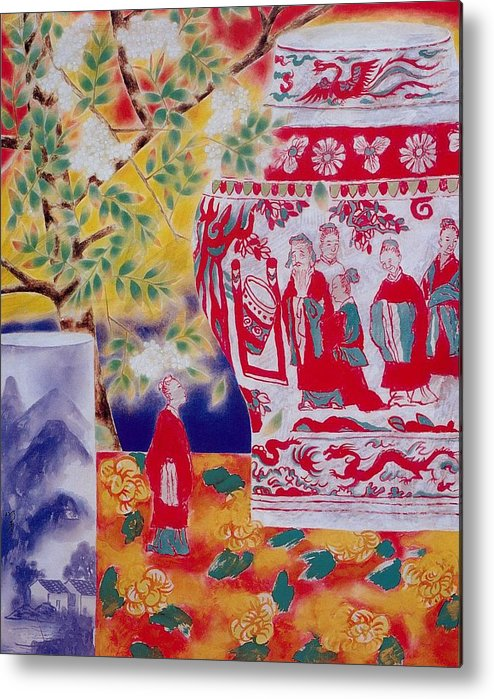 Acrylic Paintings Metal Print featuring the painting Flowers In Vase-in The Distance by Minxiao Liu
