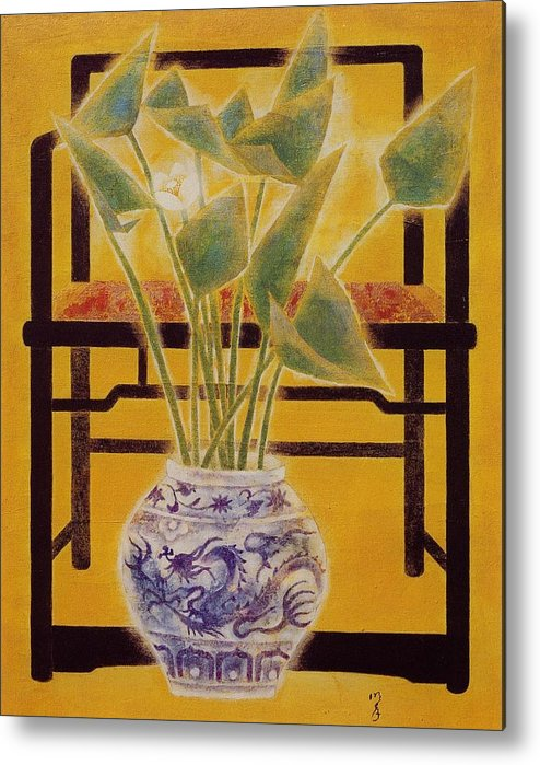 Acrylic Painting Metal Print featuring the painting Flowers In Vase by Minxiao Liu