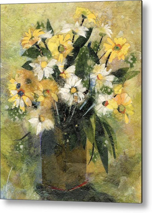 Limited Edition Prints Metal Print featuring the painting Flowers In White And Yellow by Nira Schwartz