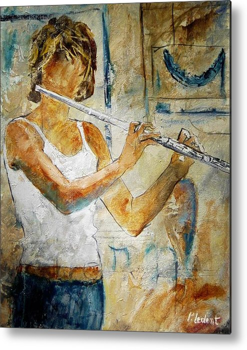 Music Metal Print featuring the painting Flutist by Pol Ledent