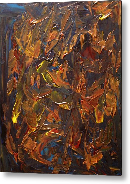 Abstract Metal Print featuring the painting Focused And Fuming by Karen L Christophersen
