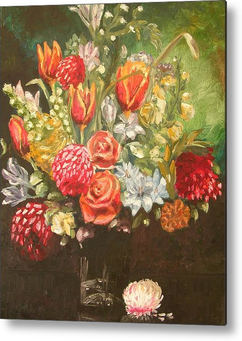Floral Metal Print featuring the painting For Mom by Janos Szatmari