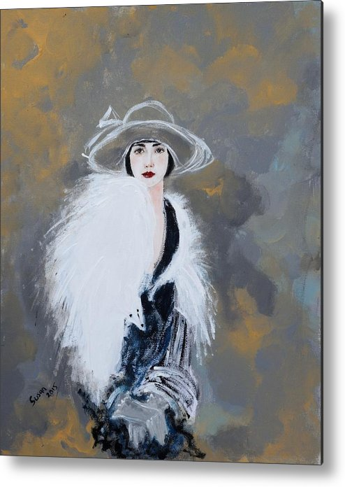 Lady With White Fur Metal Print featuring the painting Foxy Lady by Susan Adams