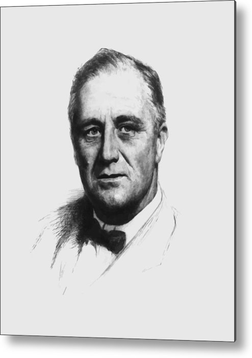 Franklin Roosevelt Metal Print featuring the painting Franklin Roosevelt by War Is Hell Store