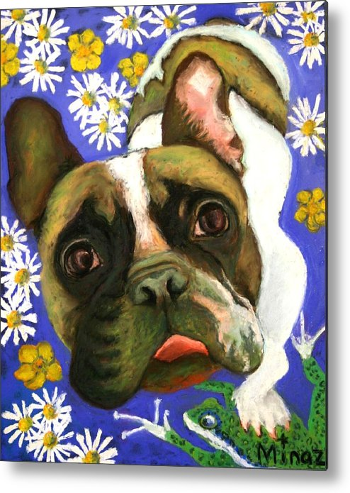 Pet Portrait Metal Print featuring the painting Frenchie Plays With Frogs by Minaz Jantz