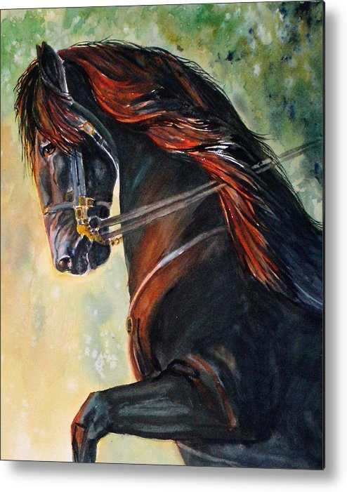 Equine Metal Print featuring the painting Friesian Sunset by Gina Hall