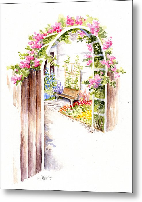 Garden Metal Print featuring the painting Garden Gate Botanical Landscape by Karla Beatty
