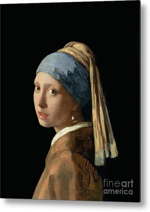 Jan Vermeer Metal Print featuring the painting Girl With A Pearl Earring by Jan Vermeer