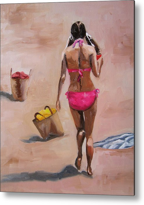 Figure Metal Print featuring the painting Going by Vicki Brevell