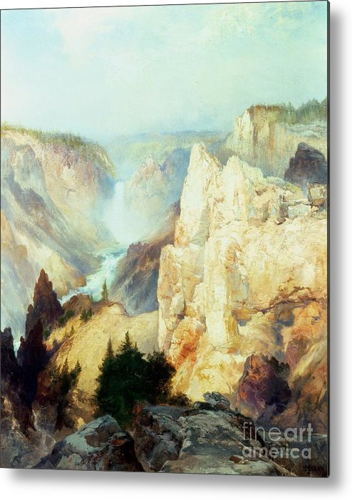 Grand Canyon Of The Yellowstone Park (oil On Canvas) By Thomas Moran (1837-1926) Thomas Moran Metal Print featuring the painting Grand Canyon Of The Yellowstone Park by Thomas Moran
