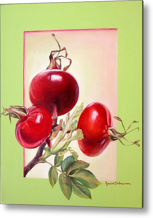 Still Life Metal Print featuring the painting Grenadine by Muriel Dolemieux