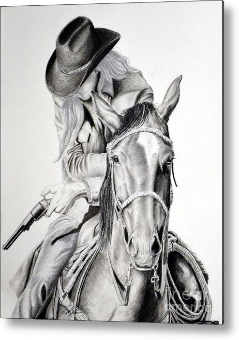 Cowboy Metal Print featuring the drawing Gunslinger by John Huntsman