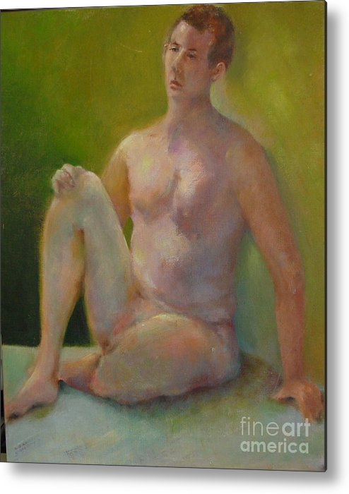Figure Metal Print featuring the painting Handsome      Copyrighted by Kathleen Hoekstra