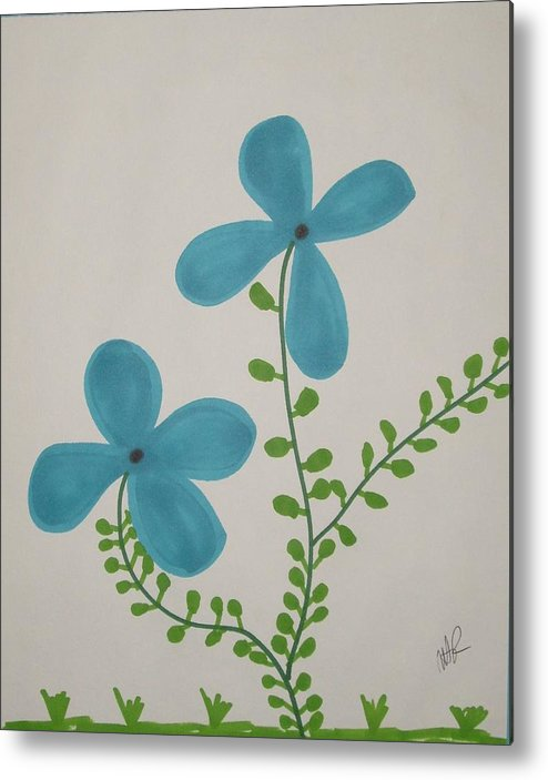Flowers Metal Print featuring the drawing Hi by Nicholas A Roes