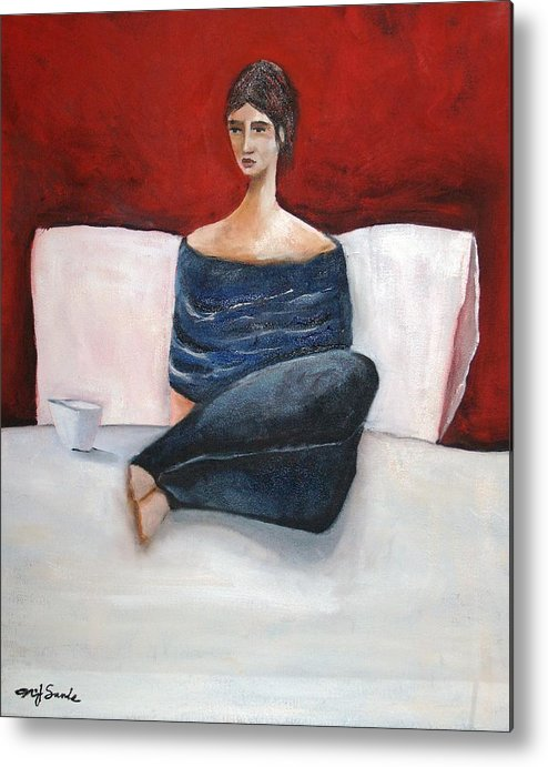 Girl Metal Print featuring the painting In My Bed by Niki Sands