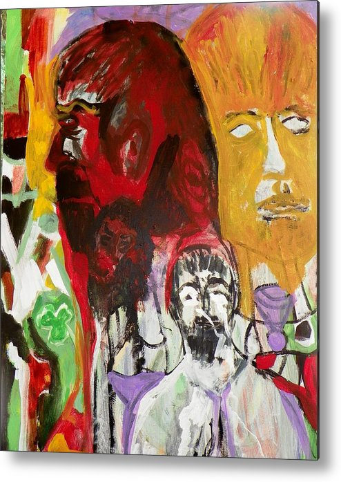 Abstract Metal Print featuring the painting Jeff - Past Present Future by Judith Redman