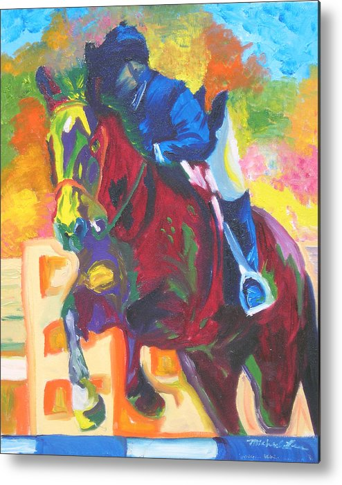 Horse Jumping Metal Print featuring the painting Jump Off by Michael Lee