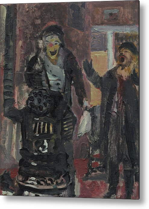 Figure Metal Print featuring the painting Laboheme Act 1 Burning by Bill Collins