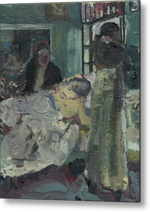 Figure Metal Print featuring the painting Laboheme Act 4 Mimi Dies by Bill Collins