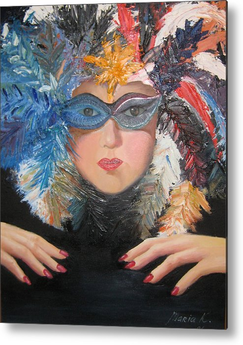 A Face With A Venetian Mask With Feathers And Hands On The Sides Metal Print featuring the painting Lady At A Carvinal by Maria Kobalyan