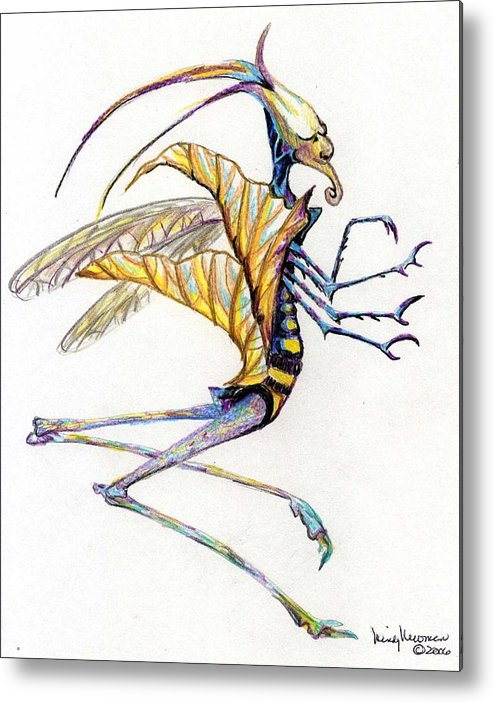 Insect Metal Print featuring the drawing Leaf Hopper by Mindy Newman