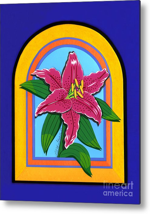 Nature Metal Print featuring the drawing Lily by Lucyna A M Green