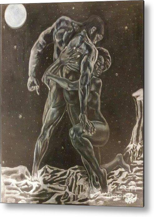 Black Art Metal Print featuring the mixed media Linked by Arron Kirkwood