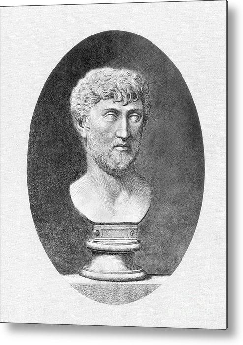1st Century B.c. Metal Print featuring the photograph Lucretius (96 B.c.?-55 B.c.) by Granger