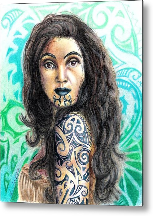 Woman Metal Print featuring the drawing Maori Woman by Scarlett Royal