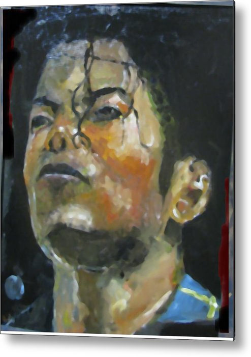Music Metal Print featuring the painting Michael Jackson by Udi Peled
