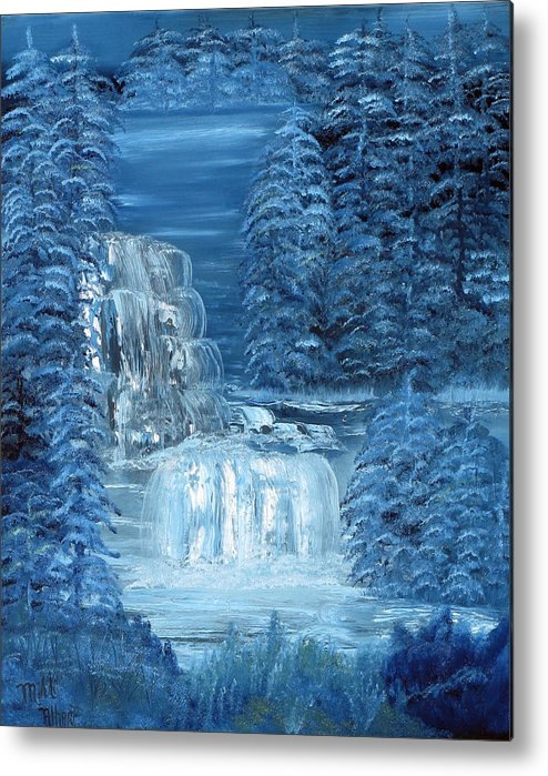 Waterfall Metal Print featuring the painting Midnight Falls by Mikki Alhart