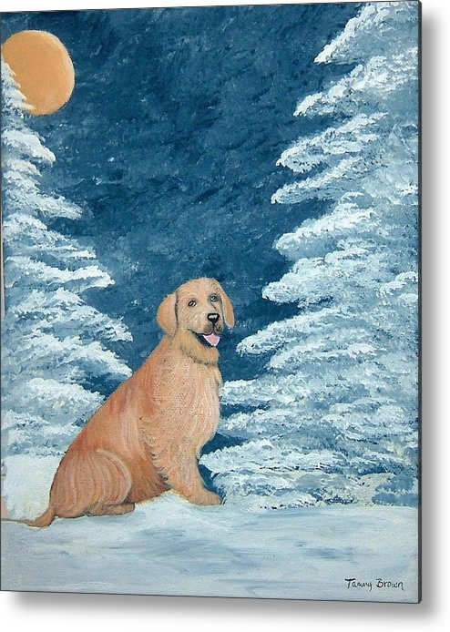 Golden Retriever Metal Print featuring the painting Midnight Snow by Tammy Brown