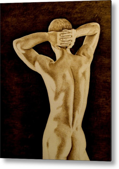 Pyrography; Sepia; Nude; Male; Back; Pointillism; Shadow; Hands; Naked; Muscles; Metal Print featuring the pyrography Midnight Stretch by Jo Schwartz