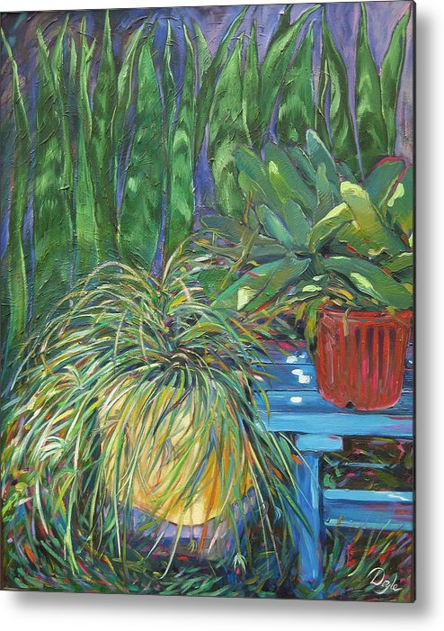 Spider Plant Metal Print featuring the painting Moonlit Garden by Karen Doyle