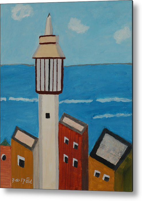 Religoius Seashore Mosque Metal Print featuring the painting Mosque Seen From Jaffa Restaurant  by Harris Gulko