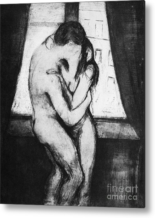 1895 Metal Print featuring the photograph The Kiss, 1895 by Edvard Munch