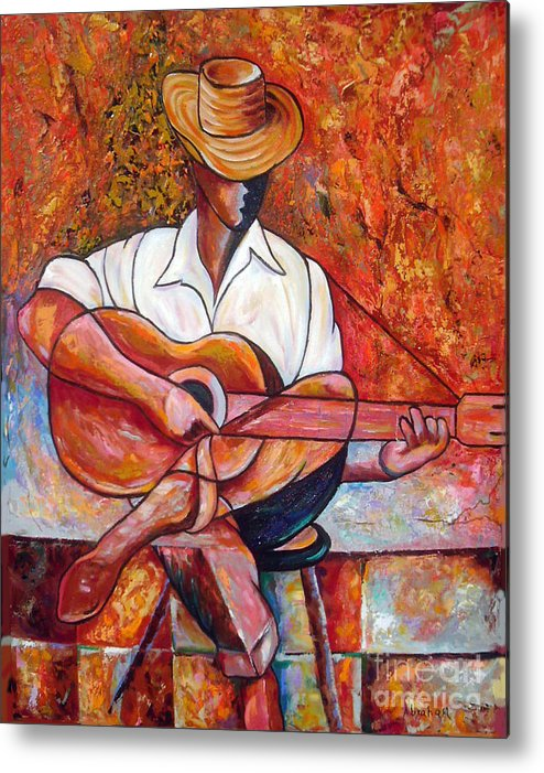 Cuba Art Metal Print featuring the painting My Guitar by Jose Manuel Abraham