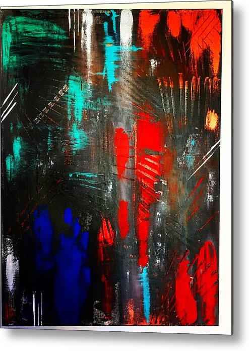 Abstract Metal Print featuring the painting Mysterious Inferno by Michael Walters